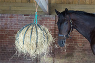 When hung away from the wall, the Hayball is free to revolve, providing entertainment for stables horses, as well as slowing down eating.