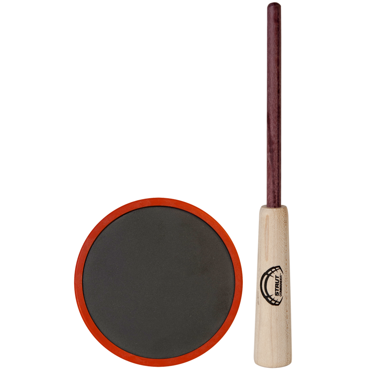 The Polycarbonate Strut Commander Slate pot call is durable, effective and affordable. This call features a red polycarbonate pot, a slate surface capable of producing a more mellow, raspy variety of yelps, clucks, cutts, and purrs, and a 2-piece purple heart wood striker.