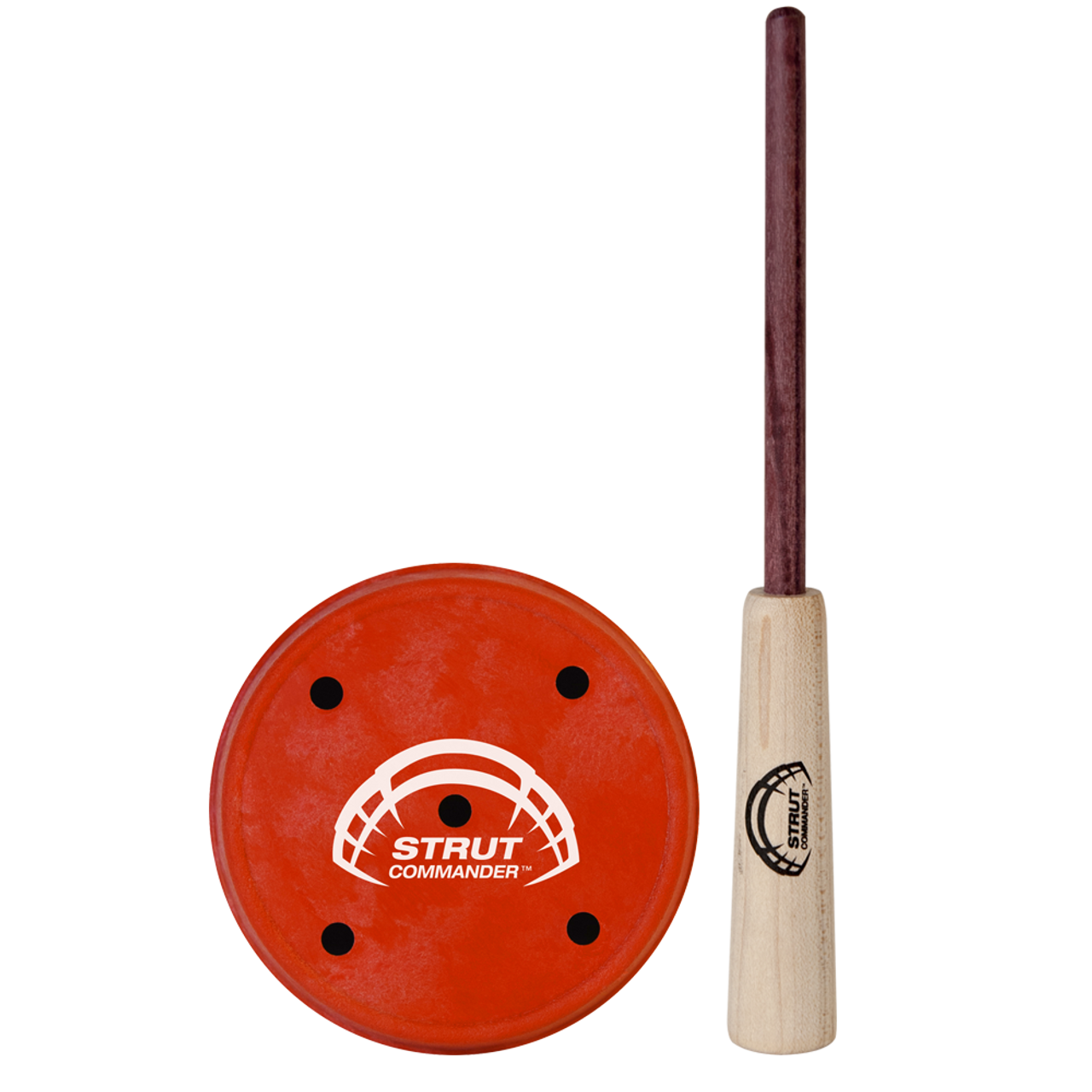 Red, polycarbonate slate pot call with the Strut Commander tail logo screen printed in white on the back and a purple heart wood striker.