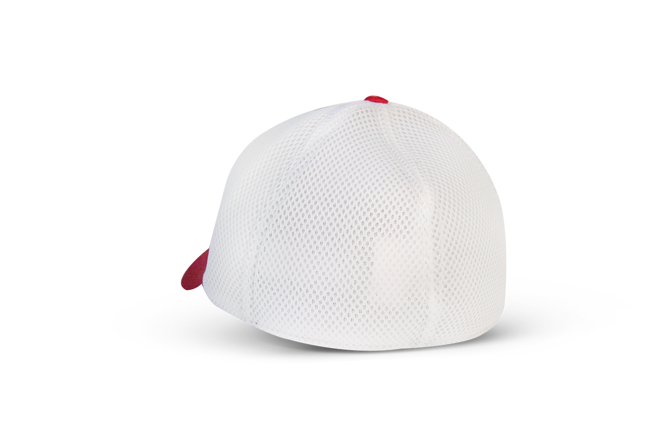 Red New Era 3930 fitted cap with white mesh back.
