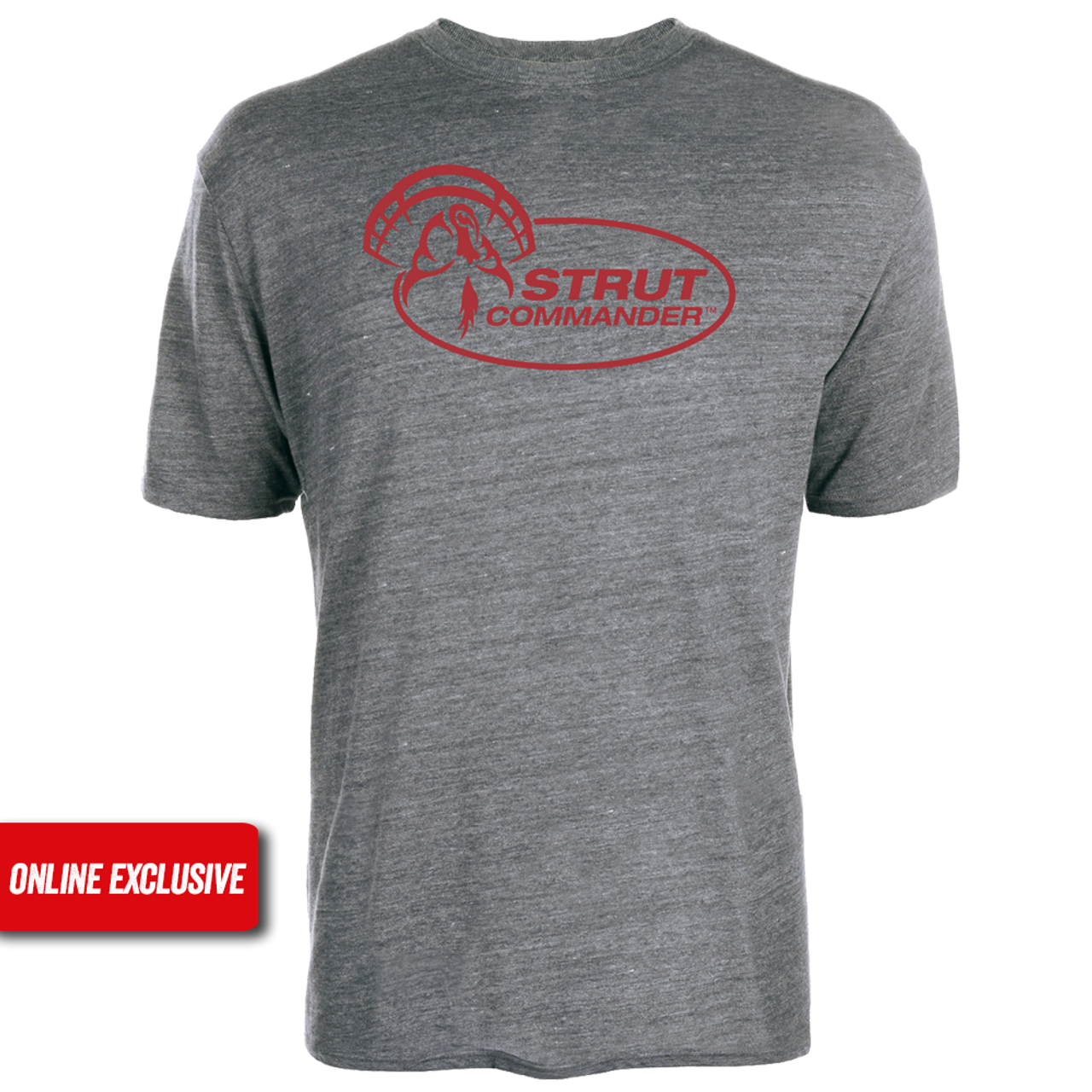 Heather Gray tri-blend cotton tee with the full Strut Commander logo screen printed on the front in red.