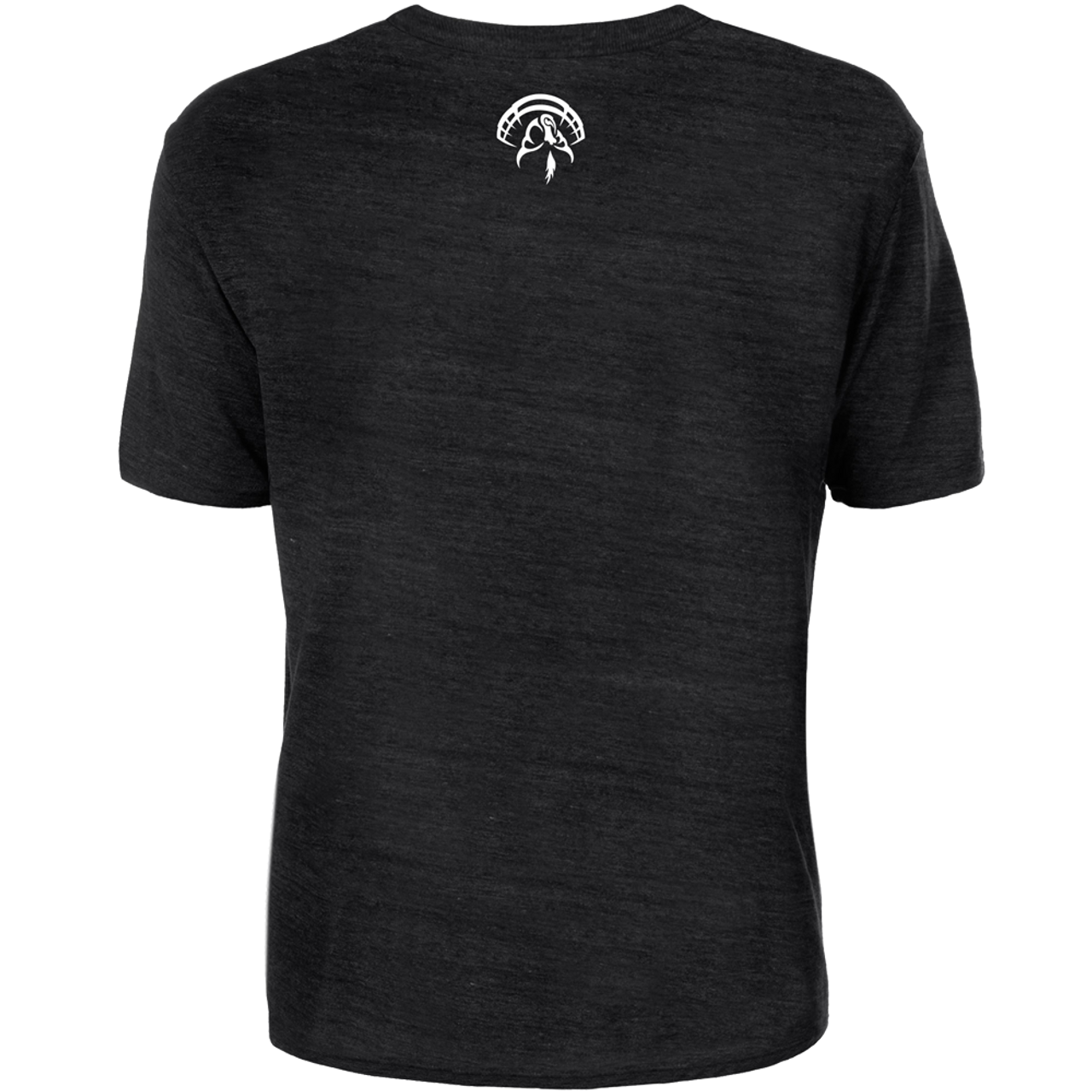Black Tri-blend cotton tee with the Strut Commander turkey logo printed on the back neck area.