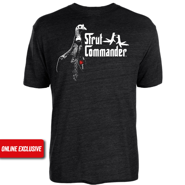 "Black Tri-blend cotton tee with the Strut Commander ""Gob-Father"" logo screen printed on the front. The ""Gob-Father"" logo is a turkey with a red rose, ""Strut Commander"" wording and two turkey legs."