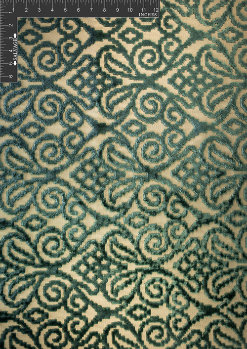 Burano Polyester Viscose Blended Velvet Burnout Designer Swirl Fabric by the Yard