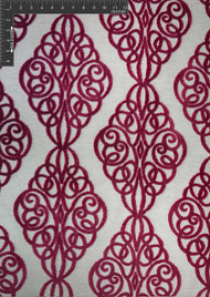 Scrollwork Polyester Viscose Blended Velvet Burnout Designer Ornate Fabric by the Yard