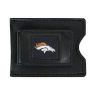 Denver Broncos Leather Money Clip and Card Case