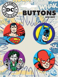 Superman Batman Joker Flash 4 Piece Button Set