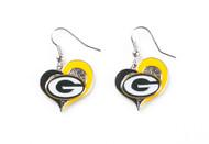 Green Bay Packers Swirl Heart Earrings