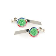 Green Flower Safety Whistle Keychain