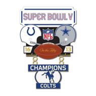 Super Bowl V (5) Colts vs. Cowboys Champion Lapel Pin