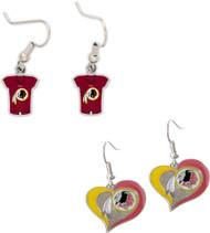 Washington Redskins Jersey and Swirl Heart Earrings