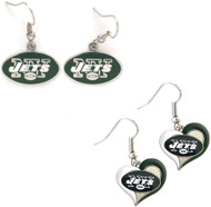 New York Jets Logo and Swirl Heart Earrings