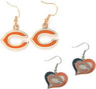 Chicago Bears Logo and Swirl Heart Earrings