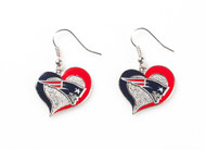 New England Patriots Swirl Heart Earrings (2 Pack)