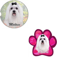 Bundle - 2 Items: Maltese Absorbent Car Cup Coaster & Paw Magnet