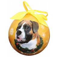 Boxer Uncropped Christmas Ball Ornament