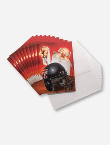 Set of 10 Santa Painting Helmet Holiday Cards - Texas Tech