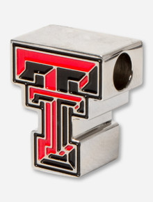 C-Note Texas Tech Red & Black Double T Stainless Steel Bead