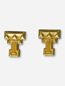 DaynaU Texas Tech Double T Gold Stud Earrings