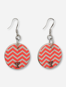 DaynaU Texas Tech Double T on Round Chevron Grey & Red Earrings
