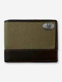 Texas Tech Double T Emblem on Pass Case Moss Green Wallet