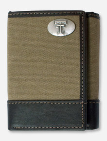 Texas Tech Double T Emblem on Trifold Moss Green Canvas Wallet