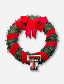 Texas Tech Double T & Red Velvet Accented Christmas Wreath