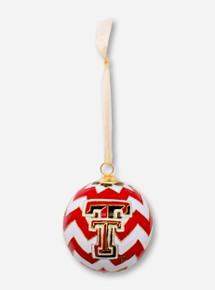 Kitty Keller Double T on Chevron Pattern Cloisonne Ornament - Texas Tech