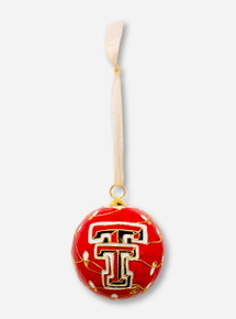 Kitty Keller Double T on Christmas Lights Pattern Cloisonne Ornament - Texas Tech