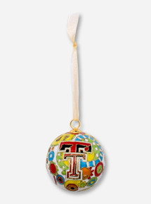 Kitty Keller Double T on Multicolored Pattern Cloisonne Ornament - Texas Tech