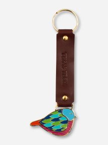 Texas Tech Bird Charm on Brown Leather Strap Keychain