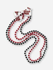 Double T & Texas Tech White Bow with Red & Black Beads