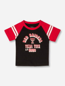 Arena Texas Tech Red Raiders Arch on INFANT Black & Red Raglan Short Sleeve