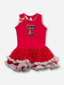 GG Brand Texas Tech Double T on Ruffled INFANT Red Dress