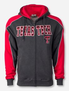Arena Texas Tech on Heather Charcoal & Red Full Zip Hooded Sweatshirt