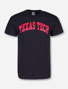 Classic Texas Tech Arch in Red on Black T-Shirt
