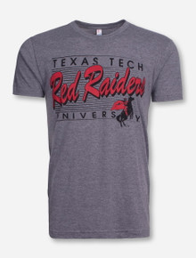 Texas Tech Vintage Red Raiders Script on Bars Grey T-Shirt