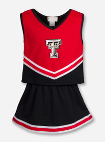 Texas Tech Glitter Double T on TODDLER Red & Black Cheerleading Outfit