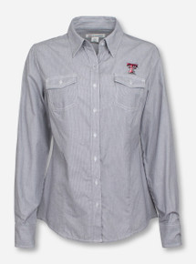 Cutter & Buck Texas Tech Double T on Women's Striped Grey & White Button Up Blouse