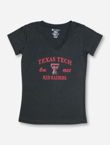 Arena Texas Tech Arch Over Double T Over Red Raiders on Heather Charcoal T-Shirt