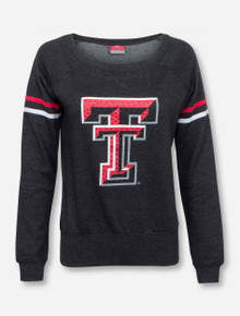 Arena Texas Tech Rhinestone Double T on Scoop Neck Sweatshirt