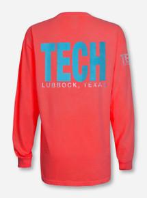 Lubbock, TX TECH in Blue on Neon Orange Long Sleeve