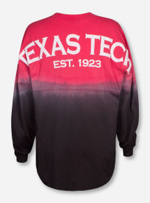 Venley Texas Tech Arch on Red to Charcoal Ombre Sweeper