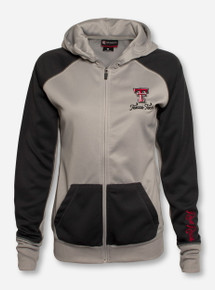 Arena Texas Tech Double T on Women's Full Zip Grey & Charcoal Hooded Sweatshirt