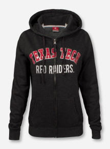 Arena Texas Tech Rhinestone Double T on Women's Full Zip Heather Charcoal Hooded Sweatshirt