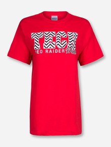 Chevron Glitter Tech Block Mom on Red T-Shirt