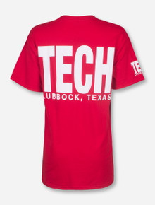 Lubbock, TX TECH in White on Red T-Shirt