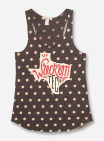 Livy Lu Texas Tech Hand Drawn State Polka Dot Heather Charcoal & Ivory Tank Top