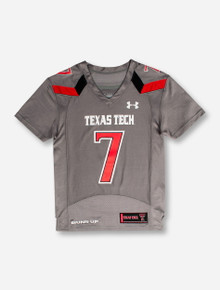 "Under Armour Texas Tech ""On the Field"" #07 YOUTH Grey Jersey"