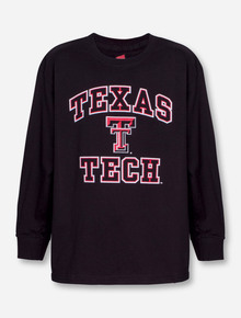 Texas Tech Dynamic Arch & Double T on YOUTH Black Long Sleeve